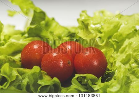 Fresh cherry tomatoes with salad and water-drops
