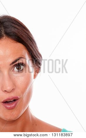 Attractive Surprised Brunette Young Woman Only