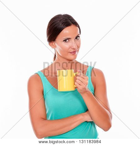Smiling Happy Brunette Woman With Coffee Mug