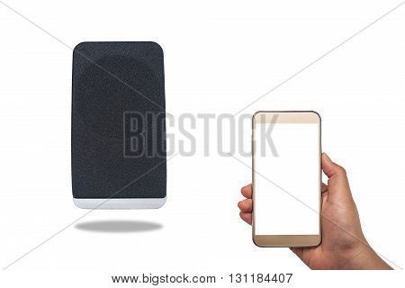 Bluetooth speaker that is connected to the mobile phone isolated on white background