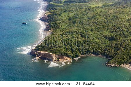 Aerial Of Jungle, Coast And Ocean In Dominica
