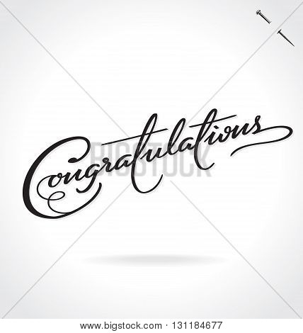 CONGRATULATIONS hand lettering - handmade calligraphy, vector