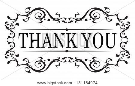Thank you vintage message with antique frame design element isolated on white
