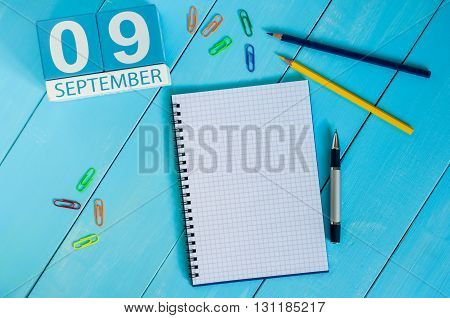 September 9th. Image of september 9 wooden color calendar on white background. Autumn day. Empty space for text. International Beauty Day.