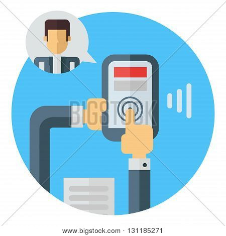 Business means of communication. Video call. Holding smartphone in hands. Colored flat vector illustration