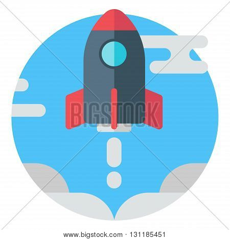 Rocket in the sky. Modern colored flat vector illustration