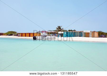 Fisherman Huts on Aruba island in the Caribbean