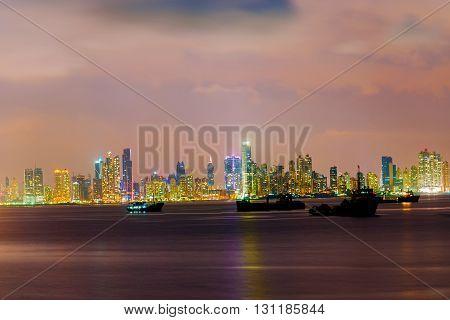 Night Skyline Over Panama City In Panama.