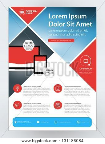 Vector Business Flyer Design Template For Mobile Application Or New Smartphone. Vector Brochure Desi