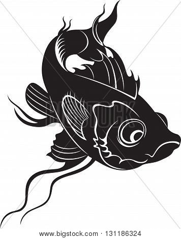 Decorative fish, black and white style illustration