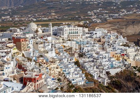 Top view of the traditional white houses of Fira. Santorini. Greece.