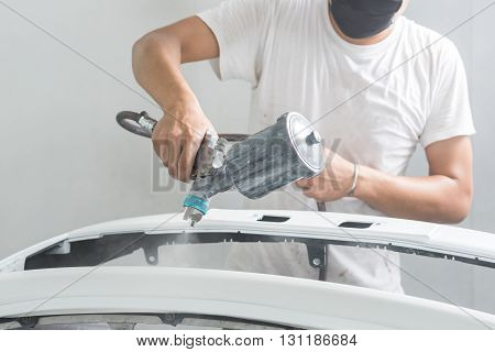 Auto body repair series : Painting car bumper in paint booth