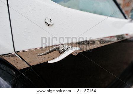 Car Door Handle At Old Vintage Retro Car