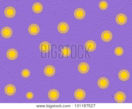 Pattern of yellow stylized flowers on rough purple background. Vector seamless