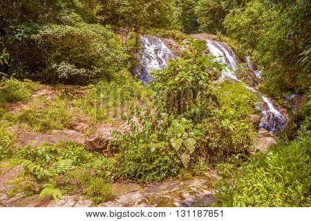 Waterfall in rainforest near Santa Fe in Panama