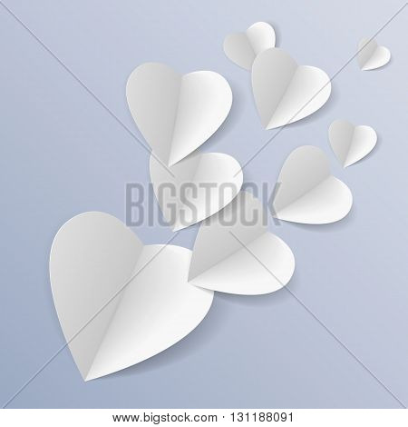 Background with several white folded paper hearts