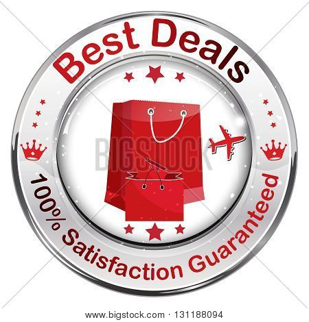 Best Deals. 100% Satisfaction Guaranteed - icon / label with shopping bags.