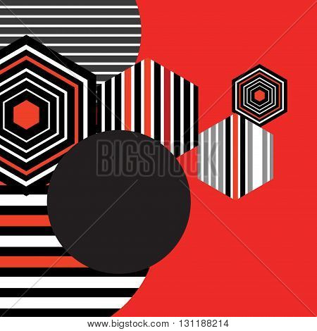 Bright geometric background of the circles and diamonds on red