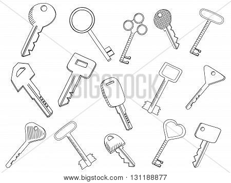 Vintage keys set isolated on white. Coloring book vector illustration. Symbol of nostalgia, security and access.