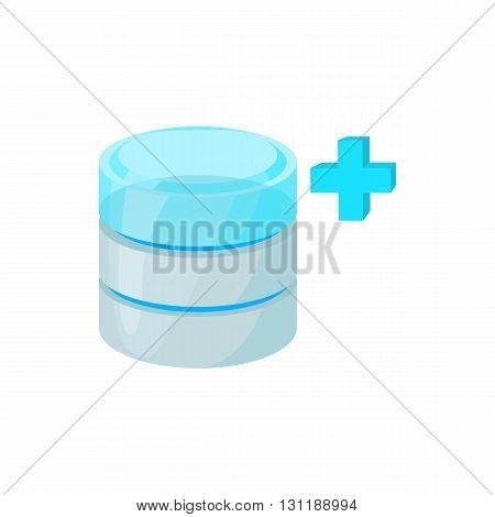 Database growth icon in cartoon style isolated on white background. Data storage symbol