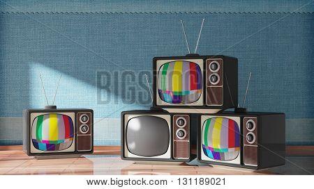 Antique TV sets on wooden floor, home interior. 3D rendering