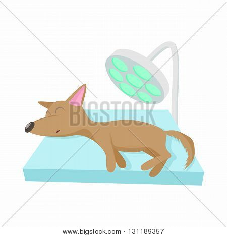 Dog checkup at vet icon in cartoon style isolated on white background. Veterinary care symbol