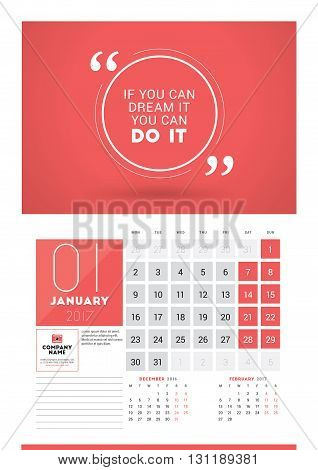 Wall Calendar Planner Print Template For 2017 Year. January 2017. Calendar Poster With Motivational