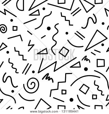 Retro 80S Seamless Pattern In Black And White