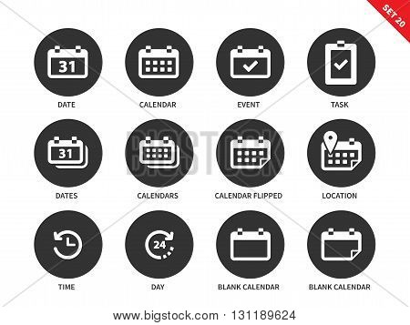 Calendar and schedule vector icons set. Planning concept. Items for reminding and meeting, calendars, event, task, date, locatin, location and time. Isolated on white background