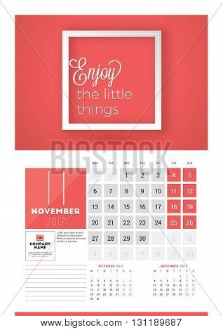 Wall Calendar Planner Print Template For 2017 Year. November 2017. Calendar Poster With Motivational