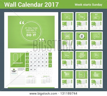 Wall calendar planner print template for 2017 year. Calendar poster with motivational quote. 3 Months on page. Week starts Sunday