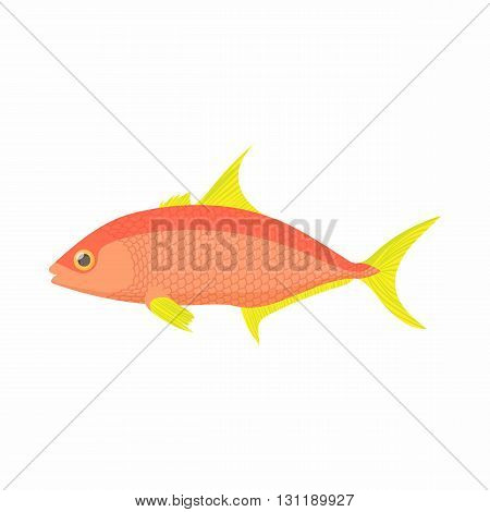 Orange fish icon in cartoon style isolated on white background. Sea and ocean symbol