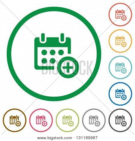 Set of Add to calendar color round outlined flat icons on white background