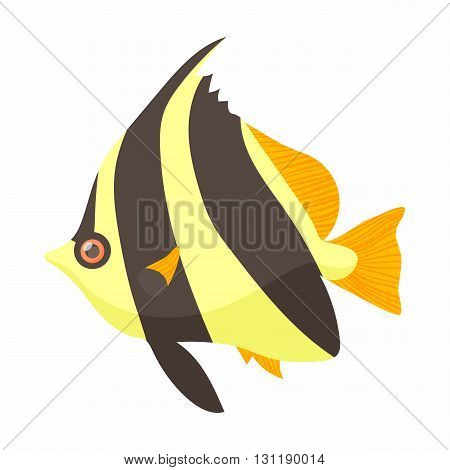 Moorish idol fish icon in cartoon style isolated on white background. Sea and ocean symbol