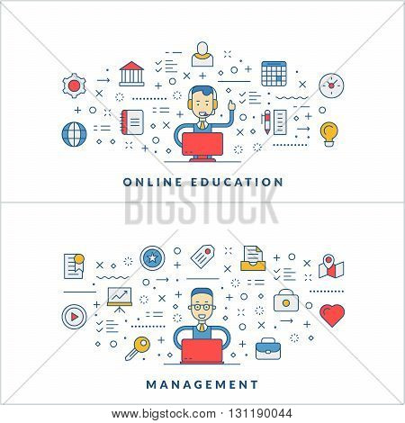 Online education. Management. Flat line icons and businessman cartoon character. Business concept. Vector thin line illustration for website banner template or header