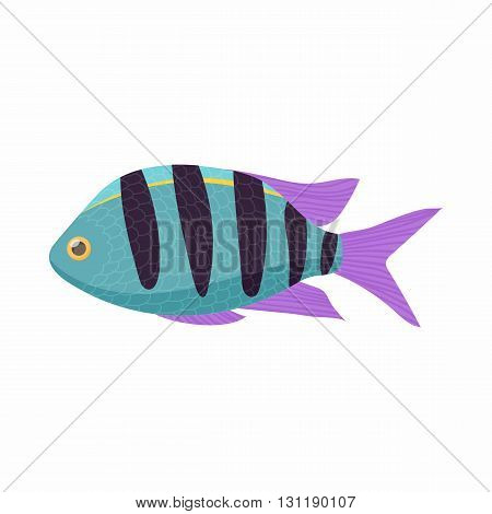 Striped tropical fish icon in cartoon style isolated on white background. Sea and ocean symbol