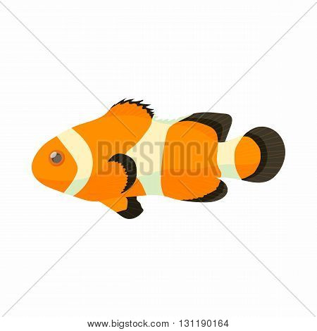 Clown fish icon in cartoon style isolated on white background. Sea and ocean symbol