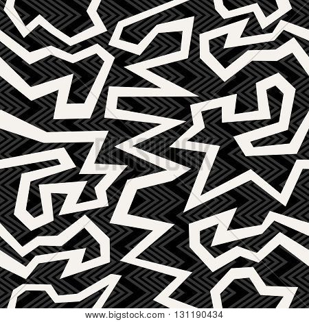 Geometric Retro Background In Black And White