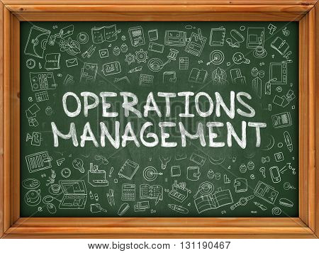 Green Chalkboard with Hand Drawn Operations Management with Doodle Icons Around. Line Style Illustration.