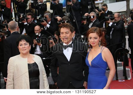 Andi Eigenmann, Brillante Mendoza and Jaclyn Jose attend the Closing Ceremony of the 69th annual Cannes Film Festival at the Palais des Festivals on May 22, 2016 in Cannes, France.