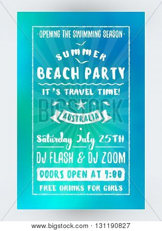 Summer Beach Party Flyer Or Poster. Night Club Event. Summer Night Party. Vector Flyer Design Templa