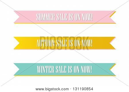 Cute pink, mint green and gold seasonal sale ribbon, banners, tags, label isolated on white background.