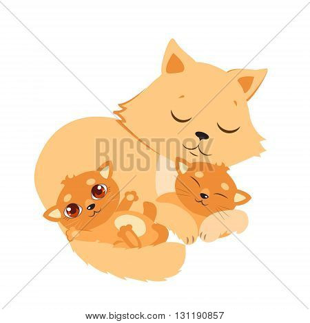 Sleeping Cat And Kitten. Sweet Kitty Cartoon Vector Card. Good Night Vector Illustration. Sleeping Cats Dreaming.