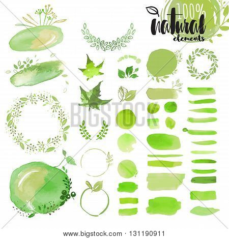 Set of hand drawn watercolor natural elements, brushes, wreathes, ribbons, frames, ornaments, pattern and background. Vector illustrations for graphic and web design, for natural and organic products, spa and cosmetics, environment.