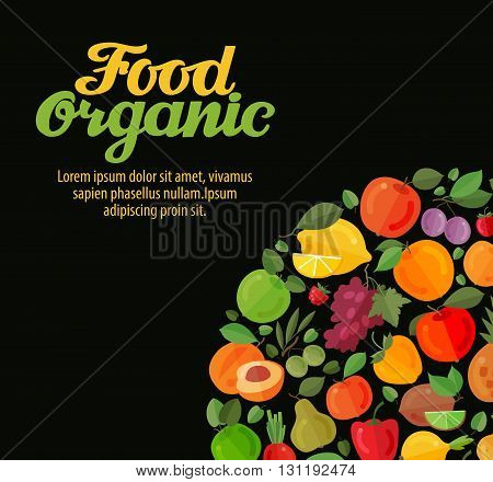 organic food. fruits and vegetables vector illustration