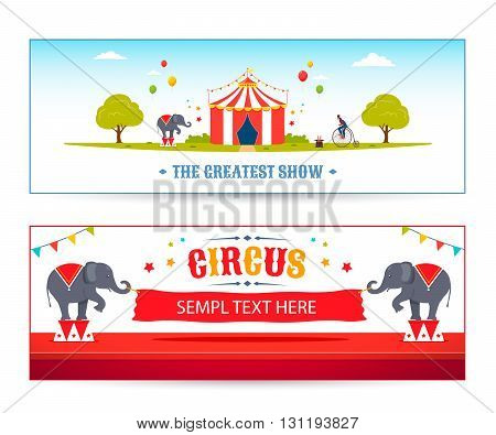 Cartoon Circus banner set. Vector circus park illustration. Circus elephants are holding a banner.