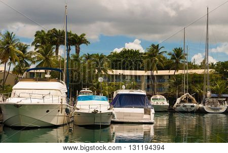 The sailboats anchored in marina on Martinique island French West Indies.