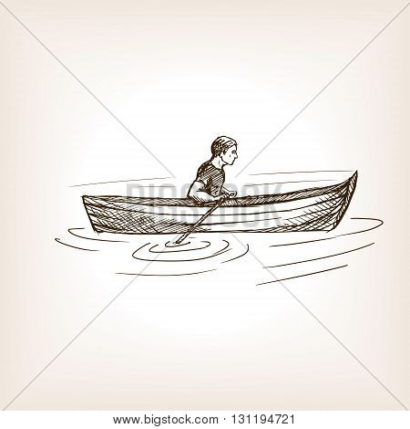 Man in boat sketch style vector illustration. Old hand drawn engraving imitation.