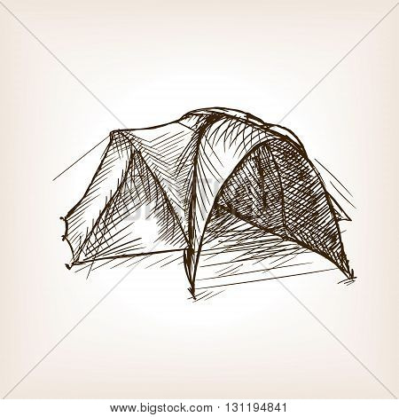 Tourist tent sketch style vector illustration. Old hand drawn engraving imitation.