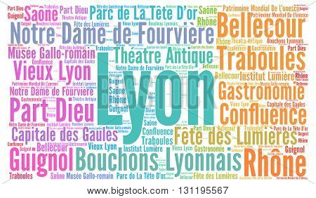 City of Lyon in France word cloud concept